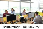 team working in office. monitor ... | Shutterstock . vector #1018367299