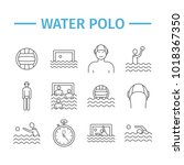 water polo line icons. vector...   Shutterstock .eps vector #1018367350