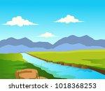 beautiful lake scene vector | Shutterstock .eps vector #1018368253