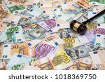 hammer of the judge on... | Shutterstock . vector #1018369750