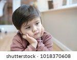 portrait of little boy with... | Shutterstock . vector #1018370608