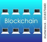 blockchain concept from laptop... | Shutterstock .eps vector #1018370680