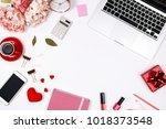 feminine desk workspace frame...   Shutterstock . vector #1018373548