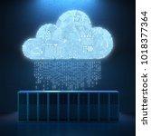 3d rendering circuit cloud with ... | Shutterstock . vector #1018377364