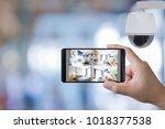 hand holding 3d rendering... | Shutterstock . vector #1018377538