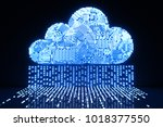 3d rendering circuit cloud for... | Shutterstock . vector #1018377550