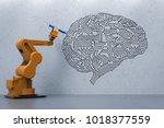3d rendering robot arm writing... | Shutterstock . vector #1018377559