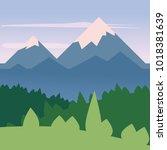 landscape minimalistic ... | Shutterstock .eps vector #1018381639