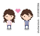 couple icon  pixel 8 bit style | Shutterstock .eps vector #1018385386