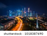 sityscape of singapore city on... | Shutterstock . vector #1018387690