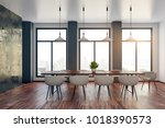 bright meeting room interior... | Shutterstock . vector #1018390573