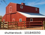 Big Red Barn Against The Blue...