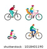 people riding on bicycles in... | Shutterstock .eps vector #1018401190