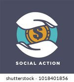 hand and money social donation... | Shutterstock .eps vector #1018401856