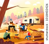 people camping of friends in... | Shutterstock .eps vector #1018402426