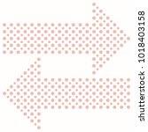 fine vector pink dotted arrows. ... | Shutterstock .eps vector #1018403158