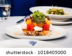 set up table at fine dining... | Shutterstock . vector #1018405000