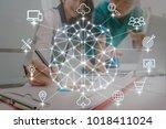 polygonal brain shape of an... | Shutterstock . vector #1018411024