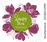 floral background. hand drawn... | Shutterstock .eps vector #1018411090