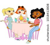 three girls are sitting at a... | Shutterstock .eps vector #1018413808