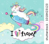 the unicorn flies on a rocket... | Shutterstock .eps vector #1018423123