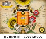 retro honey ads  glass jar in... | Shutterstock .eps vector #1018429900