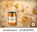 wildflower honey ads  bees... | Shutterstock .eps vector #1018429903