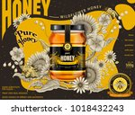 modern honey ads  glass jar in... | Shutterstock .eps vector #1018432243