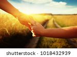 hands of holding each other in... | Shutterstock . vector #1018432939