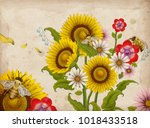 honey bees and wildflowers ... | Shutterstock .eps vector #1018433518