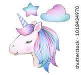 cute  magic unicorn portrait... | Shutterstock . vector #1018434970