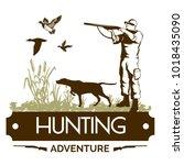 hunting club retro label... | Shutterstock .eps vector #1018435090