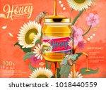 attractive honey ads  honey... | Shutterstock .eps vector #1018440559