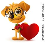 fun yellow dog with bouquet of...   Shutterstock . vector #1018440568