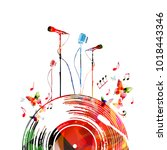 colorful music poster with... | Shutterstock .eps vector #1018443346
