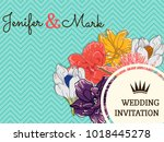 wedding invitation card with... | Shutterstock .eps vector #1018445278