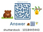 children's labyrinth with bear... | Shutterstock .eps vector #1018445443