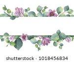 watercolor hand painted banner...   Shutterstock . vector #1018456834