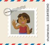 female werewolf postage stamp... | Shutterstock .eps vector #1018458340