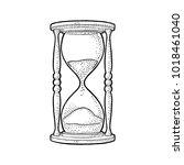 retro hourglass. vector black... | Shutterstock .eps vector #1018461040