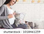 Stock photo pregnant young woman with cute pet cat on bed at home 1018461259