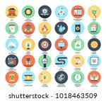 vector set of power and energy... | Shutterstock .eps vector #1018463509