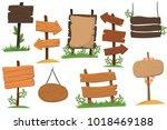 set of wooden signs of various... | Shutterstock .eps vector #1018469188