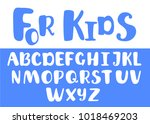 vector font for kids. blue... | Shutterstock .eps vector #1018469203