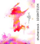 watercolor jump girl  energetic ...   Shutterstock .eps vector #1018473154