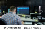 the audio editor is working on... | Shutterstock . vector #1018475089
