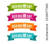 colorful boxing day ribbons.... | Shutterstock .eps vector #1018477360