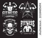 set of bodybuilding emblems... | Shutterstock . vector #1018485694