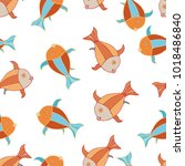 seamless pattern with cute... | Shutterstock .eps vector #1018486840