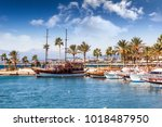 Small photo of Port with sightseeing boats, beautiful scenery, Resort town Side in Turkey